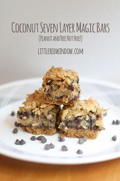 Coconut Seven Layer Magic Bars |  Peanut and Tree Nut Free |  littleredwindow.com