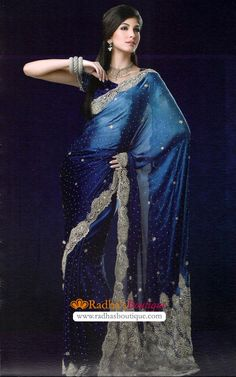 Love this blue saree. It looks so regal.