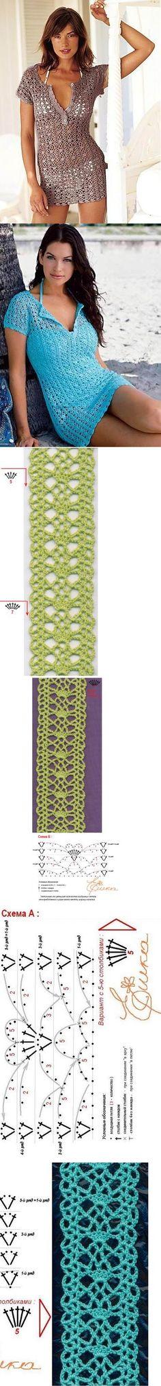 Blusa de crochê (saida de praia) bracelet, chart, crochet patterns