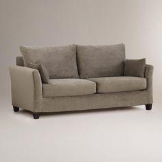Soft Grey Mink Velvet Luxe Sofa Slipcover | World Market