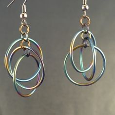 Chainmaille Earrings - Three In One Rainbow Titanium Hoola Hoops