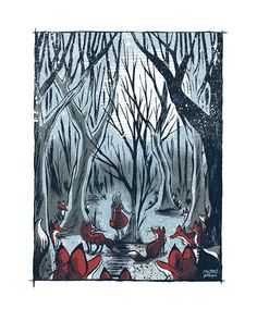The Fox Forest - Screenprinted Art Print on Etsy, $35.00
