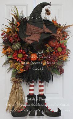 CUSTOM ORDER-Halloween Wreath-Fall Autumn Wreath- Primitive Prim Witch Hat n Boots (New Version w/broom) Petals & Plumes Original Design via Etsy
