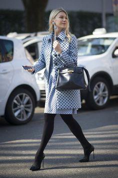 Milan street style. Cute polka dots!