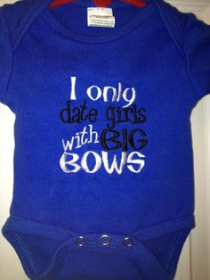 Embroidered Baby Boy Onesie I only date by CuddlyStitchesbycjk, $12.00