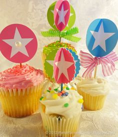 birthday parties, star cupcak, star birthday, printabl circl, parti pick, birthday decorations
