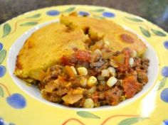 Ground Venison Casserole with Corn Muffin Topping