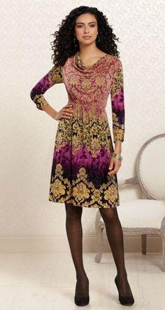 Certain Stunner: #Soma Cowl Neck Dress in Century Print #SomaIntimates