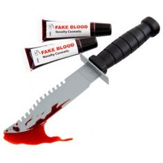 Get into the Halloween spirit with this play knife and fake blood (novelty cosmetic). Please read the instructions carefully before starting your make-up. Ages 5 +. Not suitable for children under 36 months. Choking hazard due to small parts.