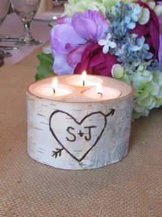 """Personalized Birch Tea Light  Candle Holder for your  Wedding  Centerpieces 4"""" Tall - Home Decor  Anniversary Rustic Bridal Shower. $11.95, via Etsy."""