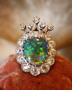antique diamond & opal crown ring