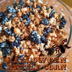 #Halloween Multi-Colored Kettle Corn #Recipe - Super easy, just corn, sugar, oil, and food dye.