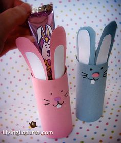 Bunny candy holders using toliet or paper towel rolls for friends at daycare. Plus baby chicks craft.  Could go farther and make it a sorting task if you make serve different colors bunnies or chicks this could be a good idea for kids gifts at school.