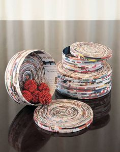 boxes made from coiled magazine pages