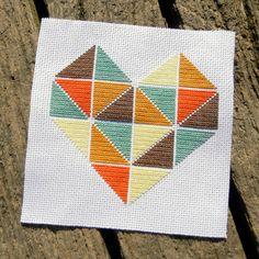 Heart Geometric Minimalist Triangles Cross Stitch Pattern PDF
