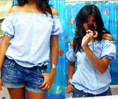 Peasant Top From Men's Button Up Shirt #howto #tutorial