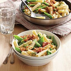 Two-Pea Pasta with Bacon Breadcrumbs | Cooking Light #myplate #protein #wholegrain #veggies, #dairy