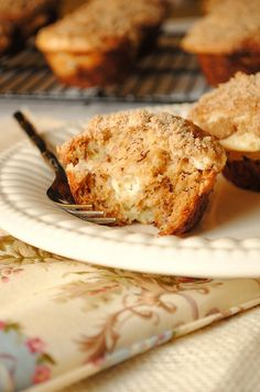 Banana cream cheese muffins with crumb topping.