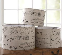 shades, pottery barn inspired, lamp shade, french script, calligraphy, lighting fixtures, lampshad, barns, design blogs
