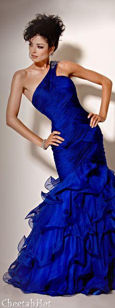 JOVANI - Royal Blue Ruffles