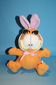 "8"" Garfield Bunny Ears Premium Image Paws Cloth Plush Stuffed Animal Easter Toy"