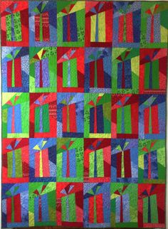 Art Quilt Lap Quilt Wall Hanging Gift Presents  Red by SallyManke, $385.00