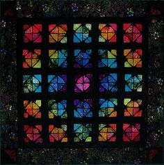 """All the Colors"" by Pam Geisel.  Batik stained glass effect."