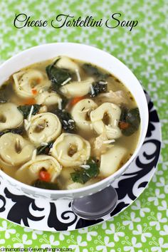 Cheese Tortellini Soup w/ Chicken and Spinach