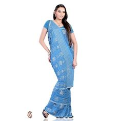 Exclusive blue Chiffon saree -- Saree in blue color has exclusive designs and patterns. The gorgeous designs adorning the body, pleat and pallu are embellished with lovely zari weave. It is paired with a matching blouse piece. $47