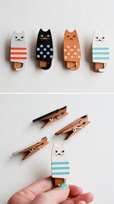 cat clothespins.