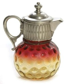 New England Glass; Amberina, Syrup, Coin Spot, 6 inch. C. 1883-1910