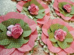 NEW Paper Flowers  Set of 3  Pink Green White  by PaperPastiche, $4.95
