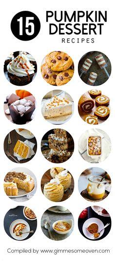 15 Pumpkin Dessert Recipes   gimmesomeoven.com #fall #baking