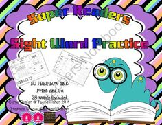Back to School Sight Word Packet Giveaway!! Enter for your chance to win 1 of 2.  Super Sight Word Reader Low Ink NO PREP 25 words (30 pages) from Teenas Teacher Tidbits on TeachersNotebook.com (Ends on on 9-8-2014)  25 Word NO Prep, LOW ink sight word packet. 2 lucky winners - future updates to packet included.