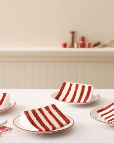 layers of red velvet cake and white buttercream