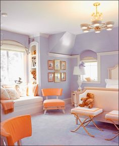 A lavender bedroom with bold splashes of tangerine wall colors, little girls, color schemes, color combos, girl bedrooms, color combinations, little girl rooms, kelly wearstler, window seats