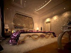 This is a huge and definitely extravagant bedroom!