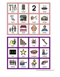 S cluster reduction Minimal Pairs Bingo Board