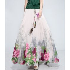 Wholesale Floral Print Drawstring Wide Hem Ankle-Length Skirt For Women (AS THE PICTURE,ONE SIZE), Skirts - Rosewholesale.com
