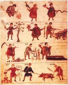 Labours of the Month, an ancient farming calendar, 818 A.D.
