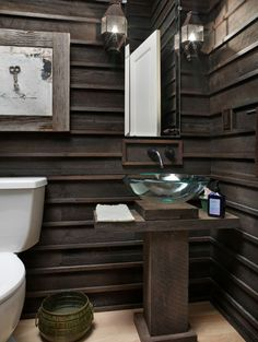 cabin, salvaged wood, basement, wall treatments, pool houses, rustic bathrooms, sink, bathroom walls, wood walls