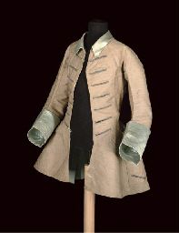 A RARE CHILD'S FROCK COAT, FIRST HALF 18TH CENTURY, oatmeal wool with ice blue silk cuffs and collar