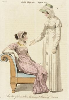 London Fashionable Morning & Evening Dresses, fashion plate, hand-colored engraving on paper, published in Lady's Magazine, August, 1812.