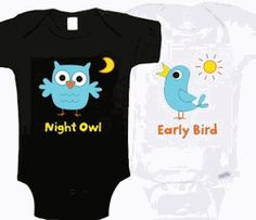 Night Owl & Early Bird Onesies earli bird, bird onesi, twin stuff, babi babi, twin cloth, babykid stuff, night owl, birds, twin onesi