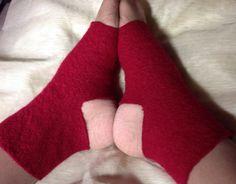 B70 ruby red merino wool felt Yoga socks , toeless socks, heedless sox upcycled by mcleodhandcraftgifts,