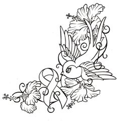canser ribbin tattoos | Bird with Hibiscus and Cancer Ribbon Tattoo by ~Metacharis on ...