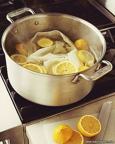 Lemons:  To whiten cloth napkins, linens, and even socks, fill a large pot with water, and drop in several slices of lemon. Bring to a boil, then turn off the heat. Add the linens, and let them soak for about an hour. Then launder as usual.