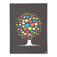 Kids Wall Art: Colorful Heart Tree Print in All Wall Art