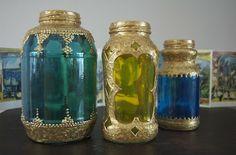 lantern, craft, recycled jars, old jars, moroccan style, pasta sauces, mason jars, puff paint, glass paint