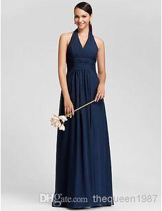 - Custom Made! Navy Blue Chiffon Halter Bridesmaid Bridesmaid Dress | Buy Wholesale On Line Direct from China